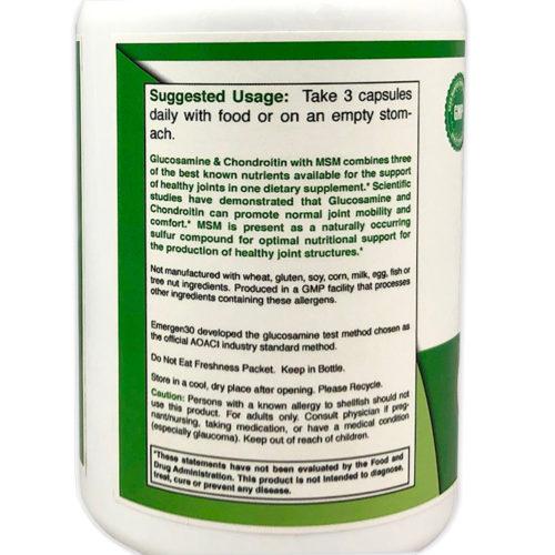 Emergen30 - Glucosamine & Chondriotin with MSM - Facts